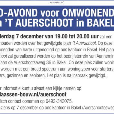 Informatie avond voor omwonenden plan 't Auerschoot te Bakel